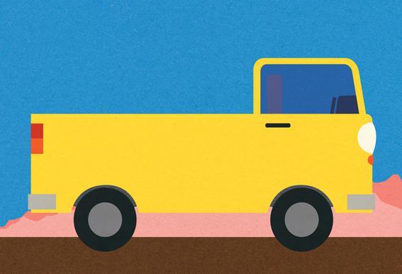 Little Yellow Pickup Truck Alu-Dibond Druck