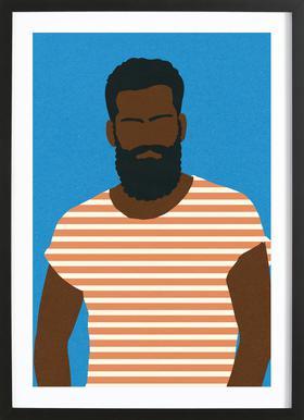 Man with Striped Shirt Poster im Holzrahmen