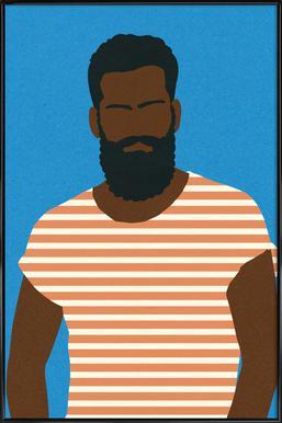 Man with Striped Shirt Poster im Kunststoffrahmen