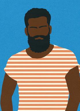 Man with Striped Shirt Leinwandbild