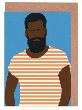Man with Striped Shirt Grußkartenset