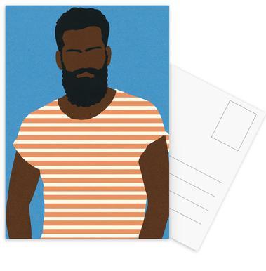Man with Striped Shirt Postkortsæt