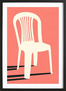 Monobloc Plastic Chair No I Poster im Holzrahmen