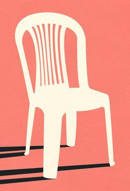 Monobloc Plastic Chair No I Alu-Dibond Druck