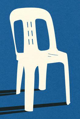 Monobloc Plastic Chair No II Aluminium Print