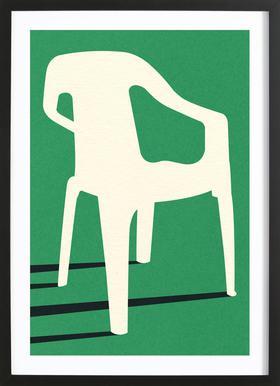 Monobloc Plastic Chair No III Poster im Holzrahmen