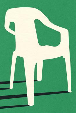 Monobloc Plastic Chair No III Aluminium Print