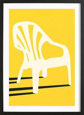 Monobloc Plastic Chair No VI Poster im Holzrahmen