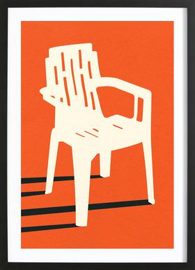 Monobloc Plastic Chair No VII Poster im Holzrahmen