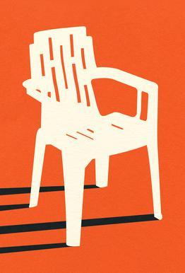 Monobloc Plastic Chair No VII Aluminium Print