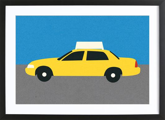 New York TAXI Poster in Wooden Frame