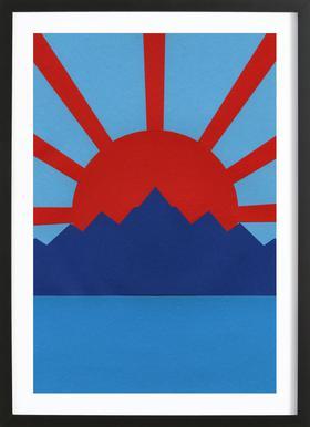Ocean Moutains Rising Sun Plakat i træramme