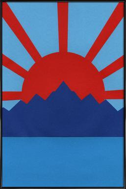 Ocean Moutains Rising Sun Poster im Kunststoffrahmen