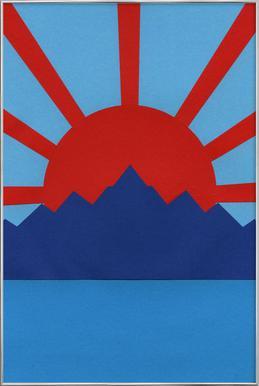 Ocean Moutains Rising Sun poster in aluminium lijst