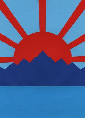 Ocean Moutains Rising Sun Canvas Print