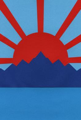 Ocean Moutains Rising Sun Aluminium Print
