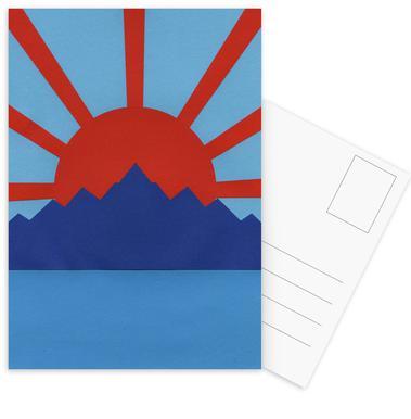 Ocean Moutains Rising Sun Postkartenset