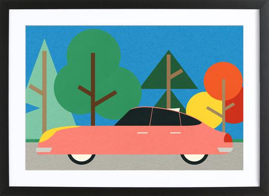 Old School Future Car Poster in Wooden Frame