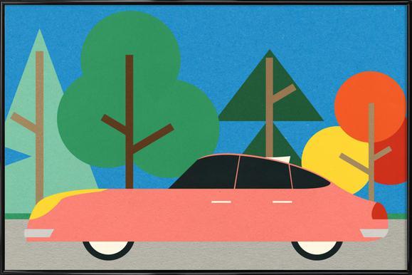 Old School Future Car Poster im Kunststoffrahmen