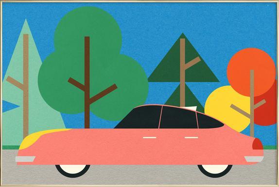 Old School Future Car -Poster im Alurahmen