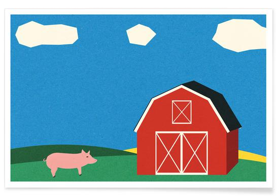 Pig and Barn Plakat