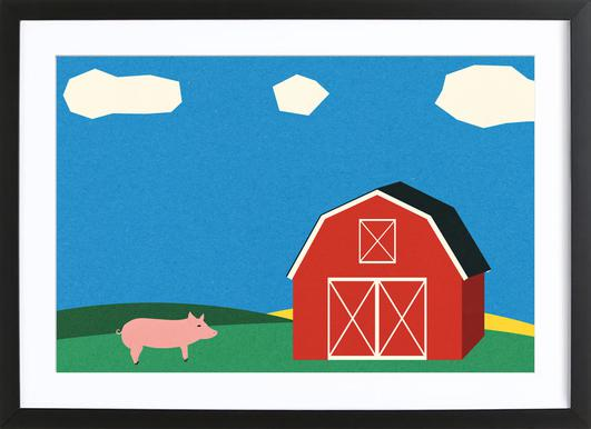 Pig and Barn Poster in Wooden Frame