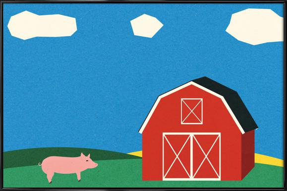 Pig and Barn Poster in Standard Frame