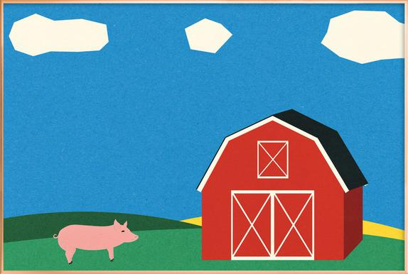 Pig and Barn Poster in Aluminium Frame