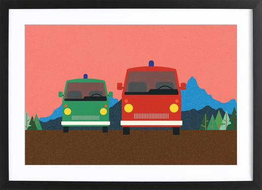 Police Bus and Fire Engine Poster in Wooden Frame