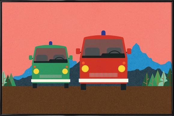 Police Bus and Fire Engine -Bild mit Kunststoffrahmen