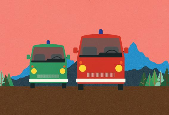 Police Bus and Fire Engine Aluminium Print