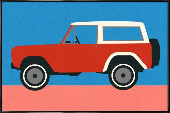 Red SUV -Bild mit Kunststoffrahmen