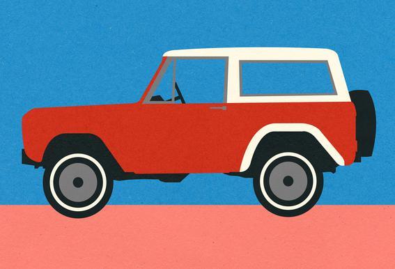 Red SUV Plakat af akrylglas