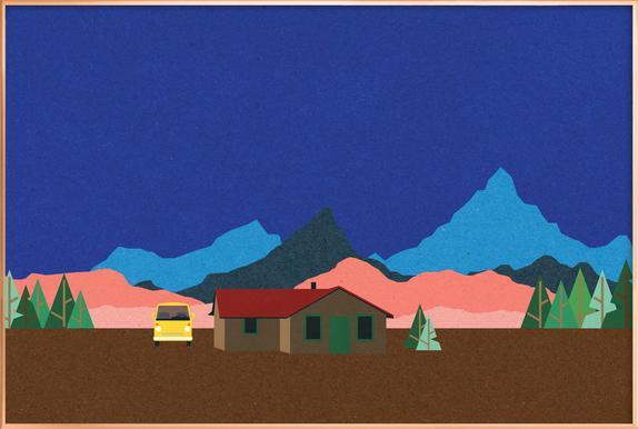 Sierra Nevada Mountain Hut Poster in Aluminium Frame