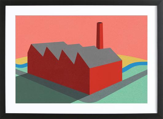 Sunset Factory Poster im Holzrahmen
