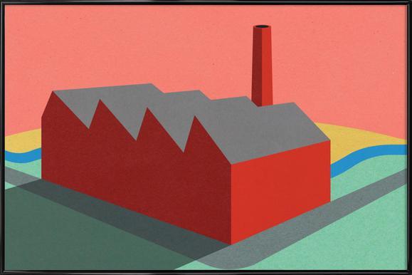 Sunset Factory Poster im Kunststoffrahmen