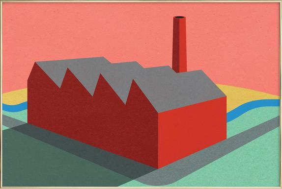 Sunset Factory Poster im Alurahmen