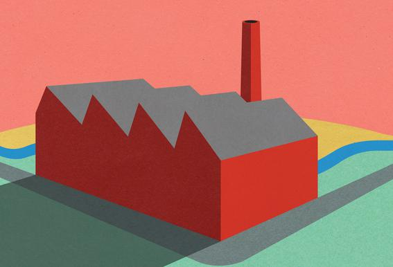 Sunset Factory Plakat af aluminum