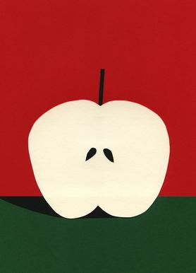 Half Red Apple Canvas print