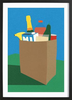 Weekly Grocery Haul Poster im Holzrahmen