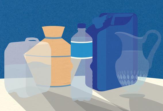 5 Wasserbehälter -Acrylglasbild