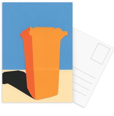 Orange Garbage Bin ansichtkaartenset