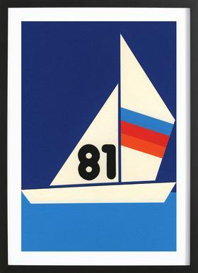 Sailing Regatta 81 Affiche sous cadre en bois