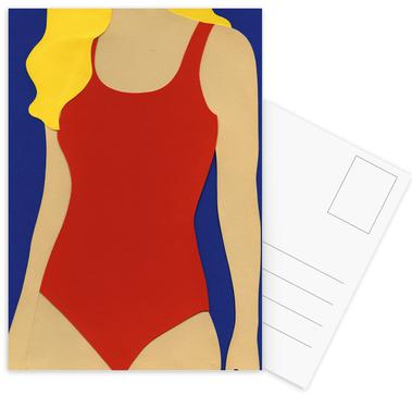 Red Swimsuit Blond Hair Postcard Set
