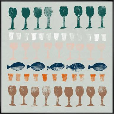 Fish and Wine 1 Poster im Kunststoffrahmen