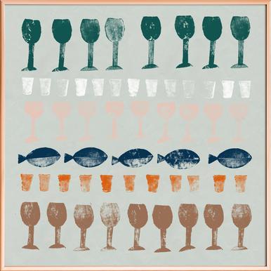 Fish and Wine 1 Poster im Alurahmen