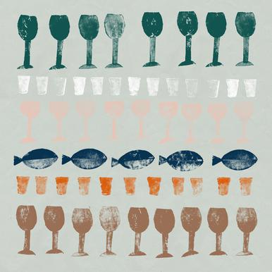 Fish and Wine 1 Alu-Dibond Druck