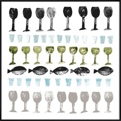 Fish and Wine 2 Poster im Kunststoffrahmen