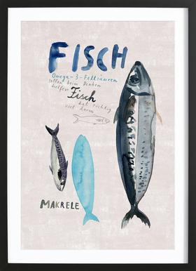 Fisch Poster im Holzrahmen