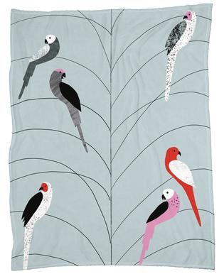 Tropicana - Birds on Branch Grey -Fleecedecke